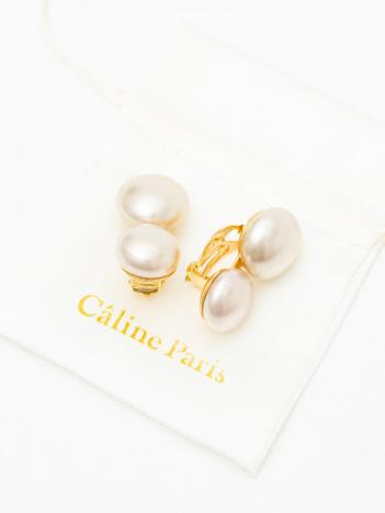 Caline Paris ダブルパールイヤリング
