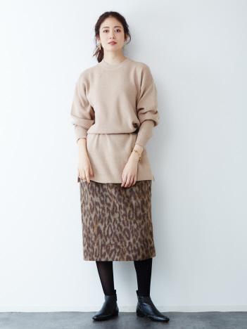 【MICA&DEAL(マイカ&ディール)】レオパードタイトスカート【予約】