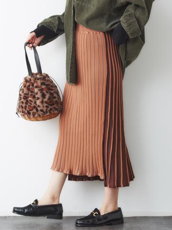 【2WAY】配色ニットスカート
