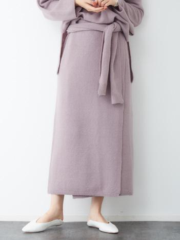 Rouge vif la cle - ヤク混ニットラップスカート【予約】