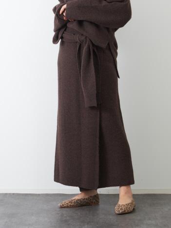 Rouge vif la cle - ヤク混ニットラップスカート