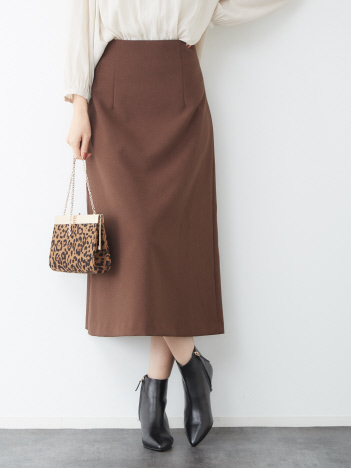 Rouge vif la cle - ウールタッチセミフレアスカート