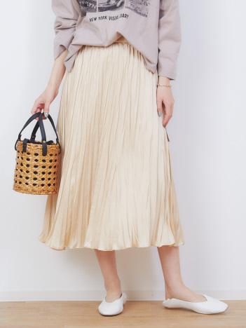 Rouge vif la cle - 【新色追加】サテンシワプリーツスカート