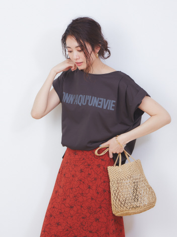 Rouge vif la cle - ダブルタックプリントTシャツ