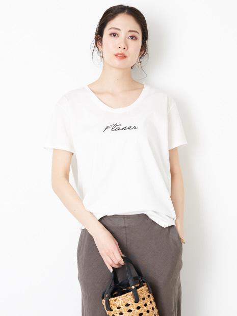 ユルネックロゴTシャツ