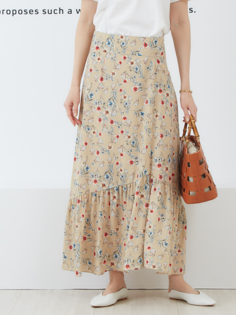 フレンチフラワープリントスカート