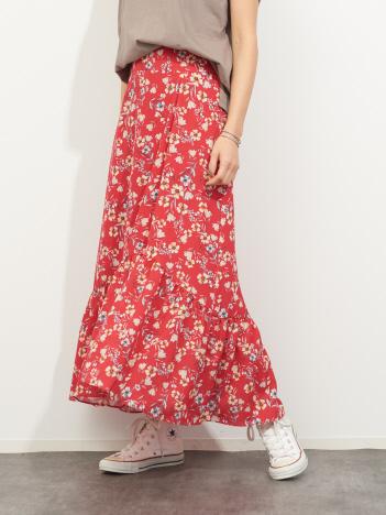 Rouge vif la cle - フレンチフラワープリントスカート