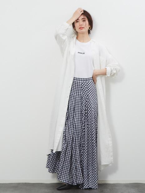 リネンAラインシャツワンピース