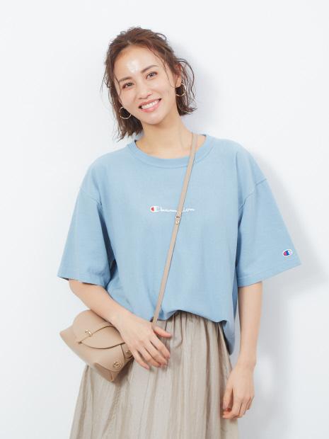 【Champion/チャンピオン】リバースウィーブロゴ刺繍Tシャツ
