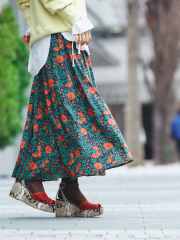 【Audrey and John Wad】ボタニカルフラワープリントロングスカート