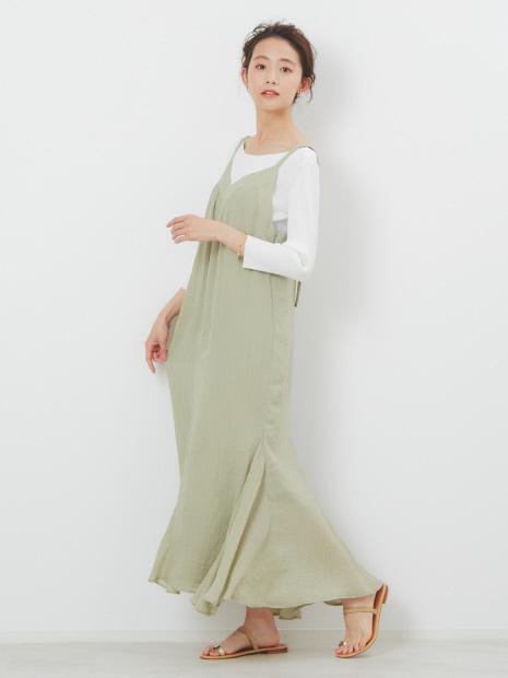 裾フレア楊柳キャミワンピース