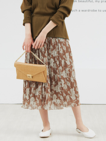 Rouge vif la cle - フラワー楊柳プリーツスカート【予約】