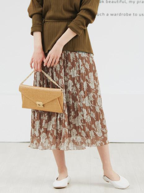 フラワー楊柳プリーツスカート