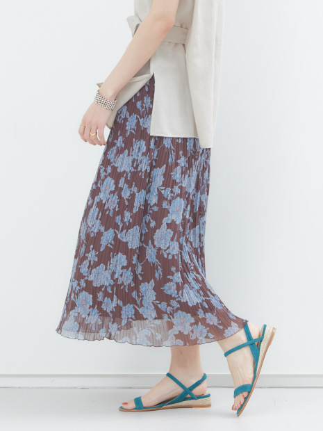フラワー楊柳プリーツスカート【予約】