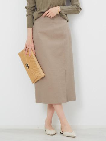 リネン混ハイテンションタイトスカート