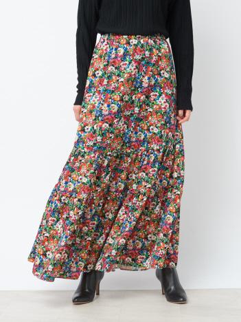 Rouge vif la cle - フラワープリント切り替えスカート