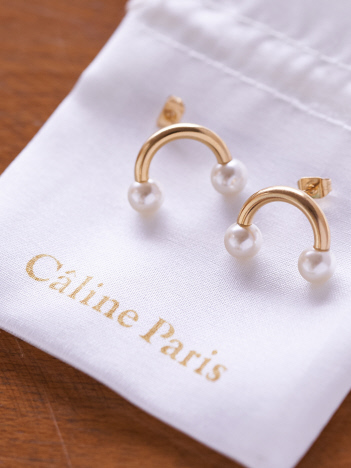 Rouge vif la cle - Caline Paris Uパールピアス【予約】