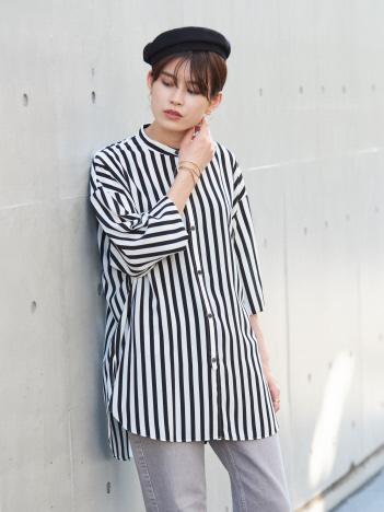 Rouge vif la cle - 【WEB&一部店舗限定】スタンドカラーロングシャツ