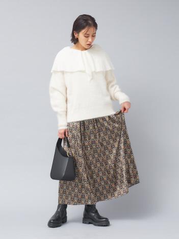【WEB&一部店舗限定】プリントマキシギャザースカート
