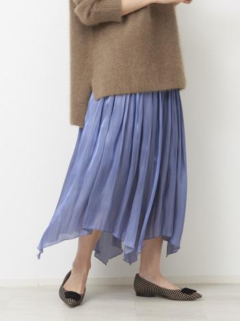Rouge vif la cle - 《新色》サテンギャザーイレギュラーヘムスカート