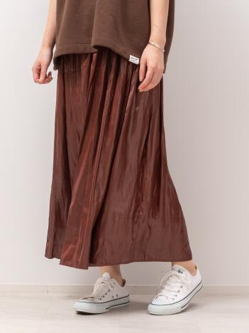 Rouge vif la cle - レザーライクサテンギャザースカート【予約】