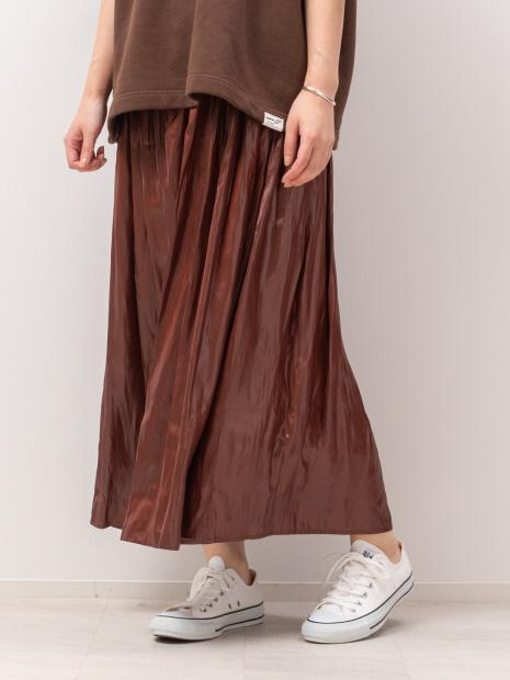 レザーライクサテンギャザースカート