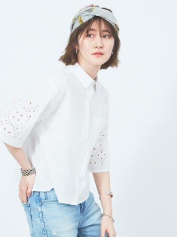 Rouge vif la cle - タイルエンブロイダリーシャツ【予約】