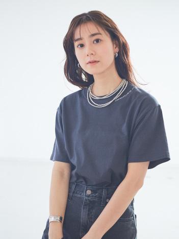 Rouge vif la cle - ネック&バックロゴ半袖Tシャツ