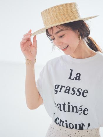 Rouge vif la cle - Bonjour!ロゴ5分袖Tシャツ