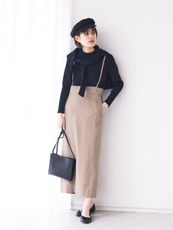 【WEB限定】ストレッチリネンサスペンダースカート