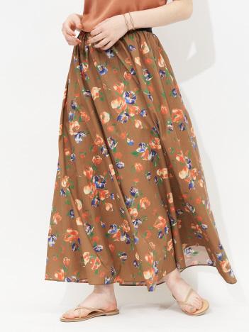 Rouge vif la cle - ドローイングフラワースカート
