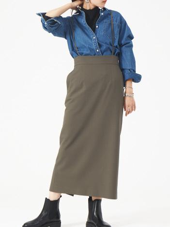 Rouge vif la cle - 2WAYウォームサスペンダータイトスカート【予約】