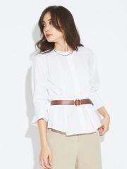 qualite - ノーカラー袖ボリュームシャツ