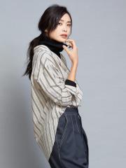 qualite - ストライプオーバーシャツ