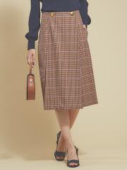 qualite - ガンクラブチェックタイトスカートパンツ
