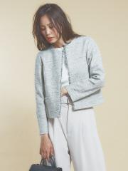 qualite - ミックスツィードジャケット