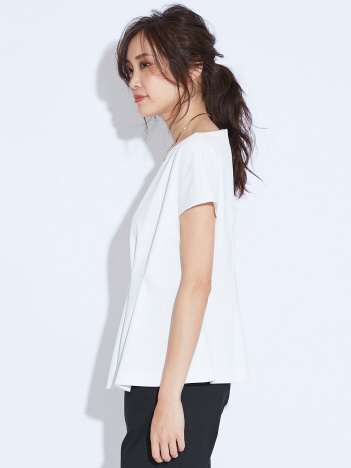 《新色ベージュ入荷》2WAYストレッチペプラムシャツ