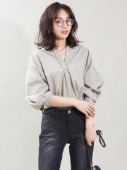 qualite - ドロップショルダー衿シャツ