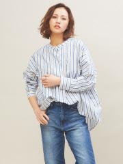 qualite - アキハストライプスタンドシャツ