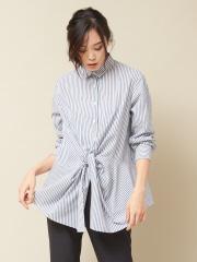 qualite - フロントツイストシャツ