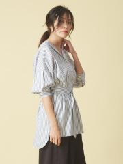 qualite - ベルト付きボリュームシャツ【予約】