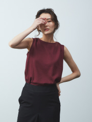 qualite - anana クルーネックリブノースリーブTシャツ