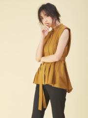 qualite - タックノースリーブスタンドシャツ