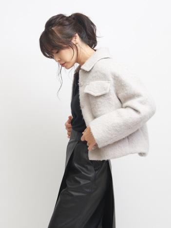 qualite - アルパカアストラカンショートブルゾン【予約】