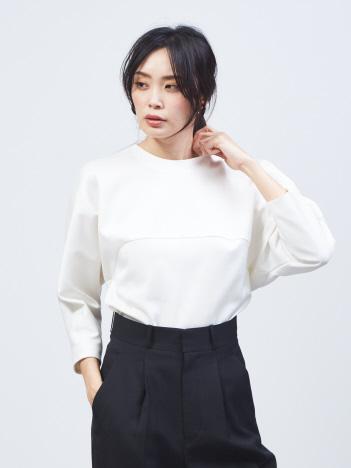 qualite - バックジップフォルムシャツ