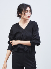 qualite - Vネック7分袖カットソーブラウス【予約】