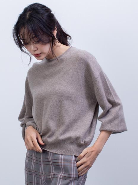 カシミヤクルーネックニットプルオーバー【予約】