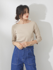 qualite - ウォッシャブルボートネックニットTシャツ【予約】