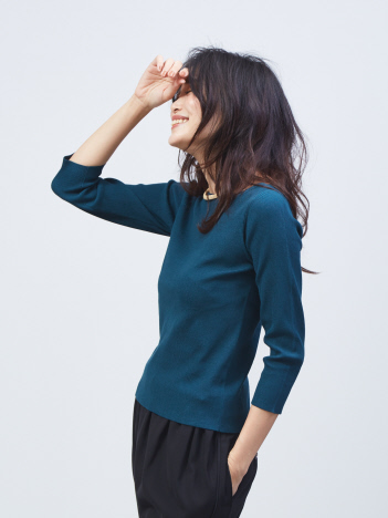 qualite - ウォッシャブルボートネックニットTシャツ