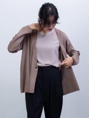 qualite - ハイゲージノーカラーニットジャケット【予約】